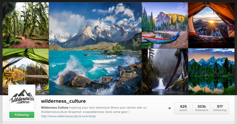 wilderness culture instagram